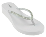 Capelli New York Ladies Solid Wedge Flip Flop With Beaded Thong