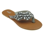 Capelli New York Ladies Fashion Flip Flop With Metallic Beaded Flower Thong