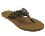 Capelli New York Ladies Fashion Flip Flop With Metallic Mesh Thong