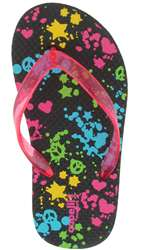 Capelli New York Jelly Thong With Splatter Paint Print Girls Promo Flip Flop