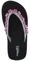 Capelli New York Metallic Thong With Dangling Butterfly And Daisy Gems Girls Flip Flop