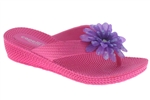 Capelli New York Woven Texture Girls Wedge Flip Flop With Flower