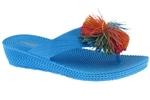 Capelli New York Woven texture Girls Wedge Flip Flop With Koosh Ball