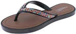 Capelli New York Girls Flip Flops with Multi Color Rhinestone Straps