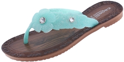 Capelli New York Girls Flip Flops with Glitter Jelly Flowers and Gem Centers
