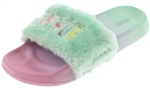 Capelli New York Girls Faux Fur Slides with Smile Embroidery