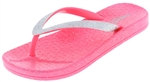 Capelli New York Girls Flip Flops with Disco Dot Trim and All Over Glitter