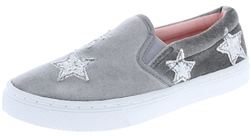 Capelli New York Girls Velvet Slip On Sneaker with Glitter Stars Applique