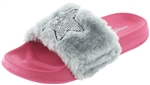 Capelli New York Girls Faux Fur Slides with Super Start Embroidery and Sequin Trim