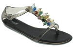 Shiny Clear Jelly with Beaded Trim and Buckle Ladies T-Strap Jelly Sandal