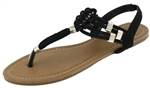 Capelli New York Ladies Sandals with Elastic Straps and Metallic Loops