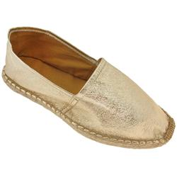 Capelli New York Foil Metallic Espadrille Flat With Crochet Toe Stitching