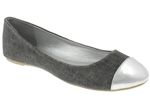 Capelli New York Linen Ladies Casual Flat with Metallic Faux Leather Toe Cap