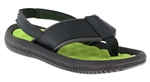 Capelli New York Toddler Boys Faux Leather Thong with Contrasting Texured Sock Flip Flops