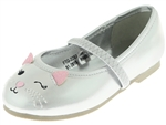 Capelli New York Toddler Girls Winking Kitten Flats with Elastic Bridge Strap