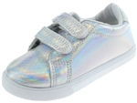 Capelli New York Toddler Girls Iradescent Sneaker Sneaker with Velcro Strap Detail