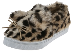 Capelli New York Toddler Girls Leopard Printed Slip On Sneakers with Fuzzy Kitten Embroidery and 3D Ears