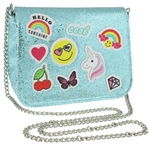 Glitter Mesh Cross Body Bag with Multi Icons