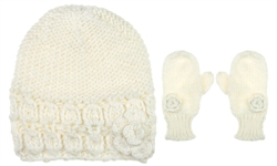 "Capelli New York 2 Piece Set Mitten & Skull Cap With ""Figure 8"" With Crochet Flower"