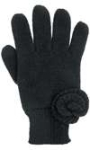 Capelli New York Soft Acrylic Yarn Flat Knit Glove With 1X1 Rib Knit Cuff And Rosette