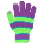 Capelli New York Banded Stripe Acrylic Magic Glove With Solid Touch Finger Tips