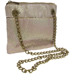 Capelli New York Metal Mesh Crossbody Bag With Exterior Pocket And Chain Handle