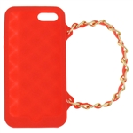 Capelli New York Silicone iPhone 5 Case Handbag With Metal Chain Strap Red