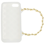 Capelli New York Silicone iPhone 5 Case Handbag With Metal Chain Strap White