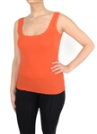 Capelli New York Ladies Ribbed Solid Tank Top With Lace