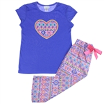 Capelli New York Girls Ikat Print 2 Piece Set: Tee and Capri