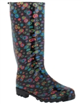 Capelli New York Shiny Painted Marbles With Back Pull Loop Ladies Jelly Rain Boot