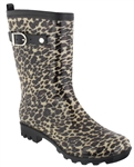 Capelli New York Baby Leopard Print With Pull Loop, Faux Leather Trim And Buckle Strap Rain Boot