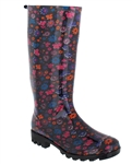 Capelli New York Floral Printed With Back Pull Loop Ladies Jelly Rain Boot