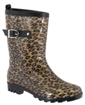 Capelli New York Shiny Leopard Printed Ladies Short Jelly Rain Boots With Buckle