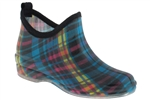 Capelli New York Shiny Summer Fun Plaid Printed Ladies Slip-On Jelly Bootie