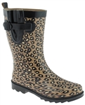 Capelli New York Leopard Printed with Buckle Ladies Short Sporty Body Rain Boot