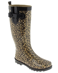 Capelli New York Leopard Printed with Buckle Ladies Tall Sporty Body Rain Boot