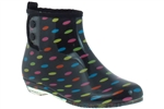 Capelli New York Ladies Polka Dots Printed Short Bootie Rain Boot With Snap Button Closure