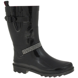 Capelli New York Shiny Ladies Rain Boot With Rhinestones