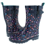 Capeli New York Shiny Painted Marbles Printed Ladies Short Rain Boot