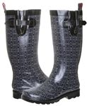 Capelli New York Ladies Folksy Floral Printed Tall Rubber Rain Boot