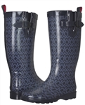 Capelli New York Ladies Shiny Diamond Geo Printed Tall Rain Boot Navy Combo