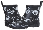 Capelli New York Ladies Shiny Soft Florals Printed Short Rain Boots with Ankle Buckle Strap Black Combo