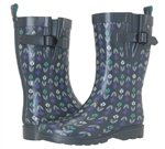 Capelli New York Tulip Stripes Print Ladies Mid- Calf Rain Boots Grey Combo