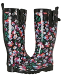Capelli New York Ladies Shiny Bright Floral Printed Rain Boot