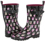 Capelli New York Ladies Owl Printed Mid- Calf Rain Boot Black Combo