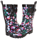 Capelli New York Ladies Bright Floral Printed Mid- Calf Rain Boot Black Combo