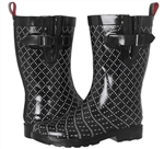Capelli New York Dotted Diamond Printed Ladies Mid- Calf Rain Boot Red Combo