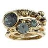 Capelli New York Set Of 6 Metal  Rings; 3 With Rhinestone Antique Gold