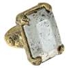 Capelli New York Metal  Ring With Metal Rectangle Antique Silver